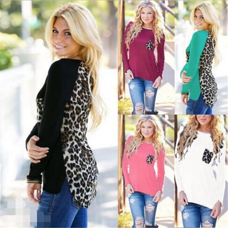 chicme / Nova Moda das mulheres Casual Sexy Voltar Leopardo Estampa de Chiffon Blusa O-pescoço Manga Longa T-shirt Tops Plus Size