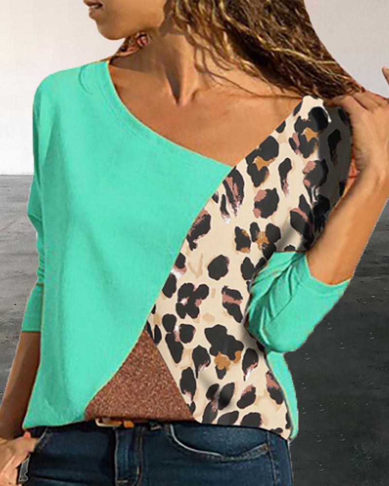 Colorblock Insert Leopard Print Long Sleeve T-shirt фото