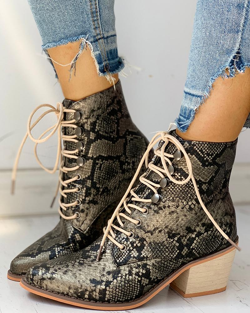 Pointed Toe Lace-up Snakeskin Chunky Heeled Boots
