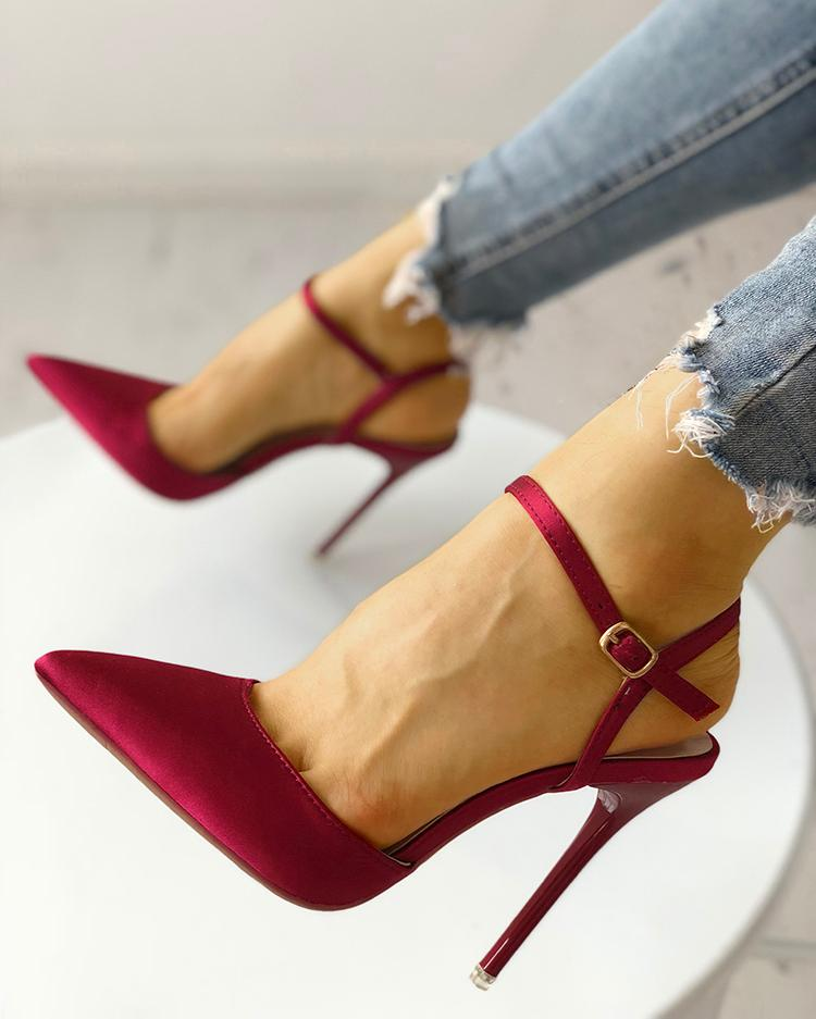 Satin Ankle Buckle Pointed Toe Thin Heeled Sandals, Wine red