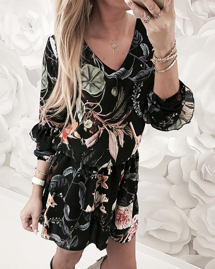 Vintage Floral V Neck Pleated Casual Dress