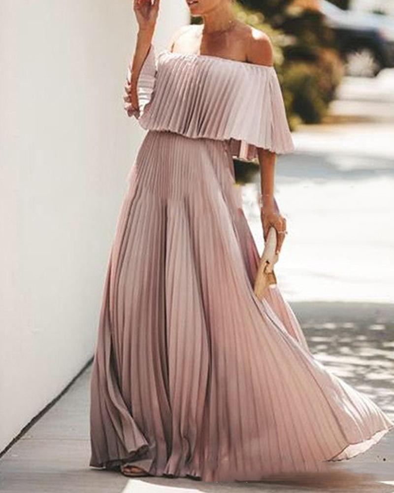 joyshoetique / Off Shoulder Pleating Maxi Dress