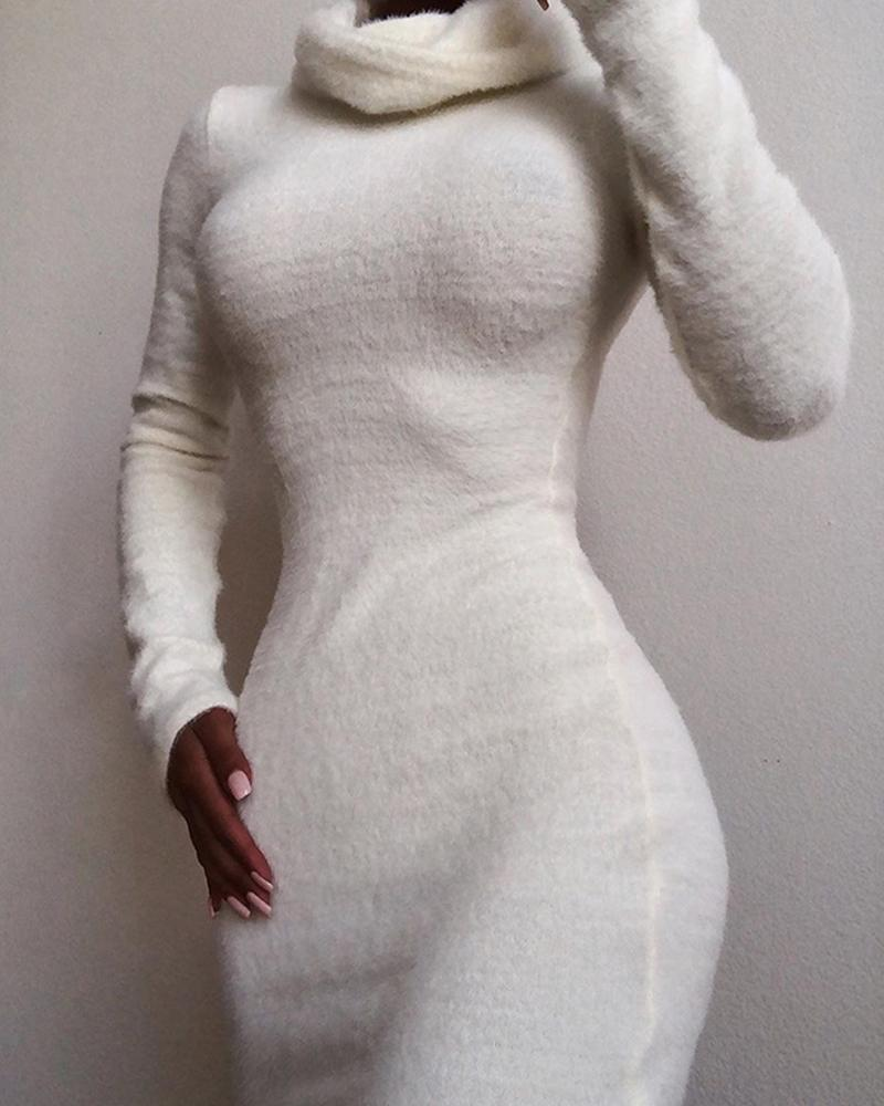 Solid High Neck Fluffy Bodycon Dress фото