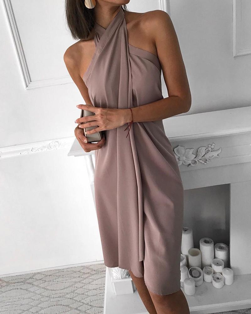 Halter Sleeveless Ruched Design Dress фото