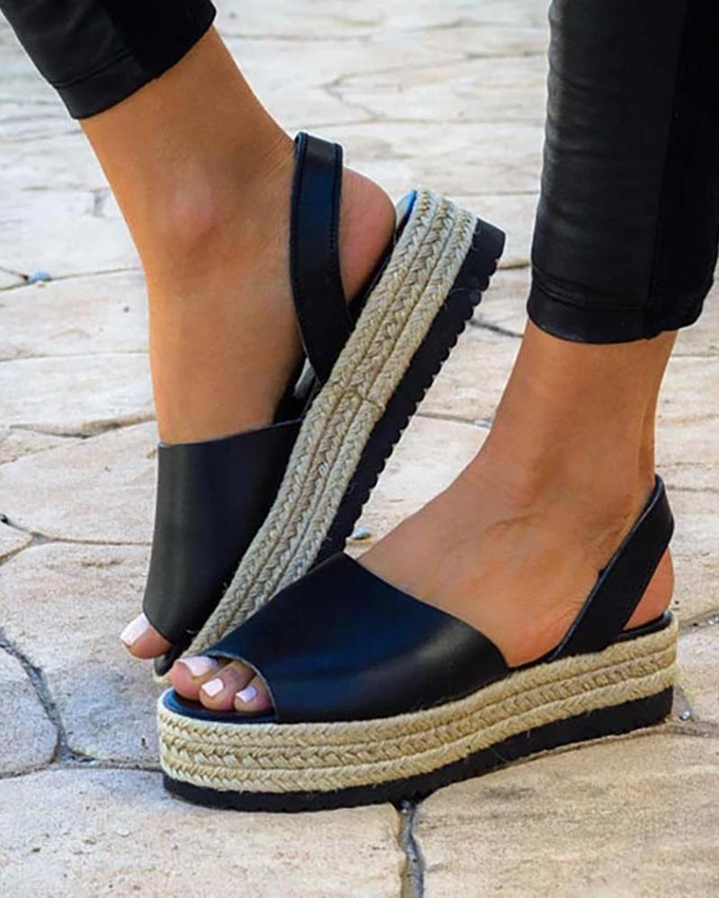 Peep Toe Slingback Espadrille Platform Sandals, Black
