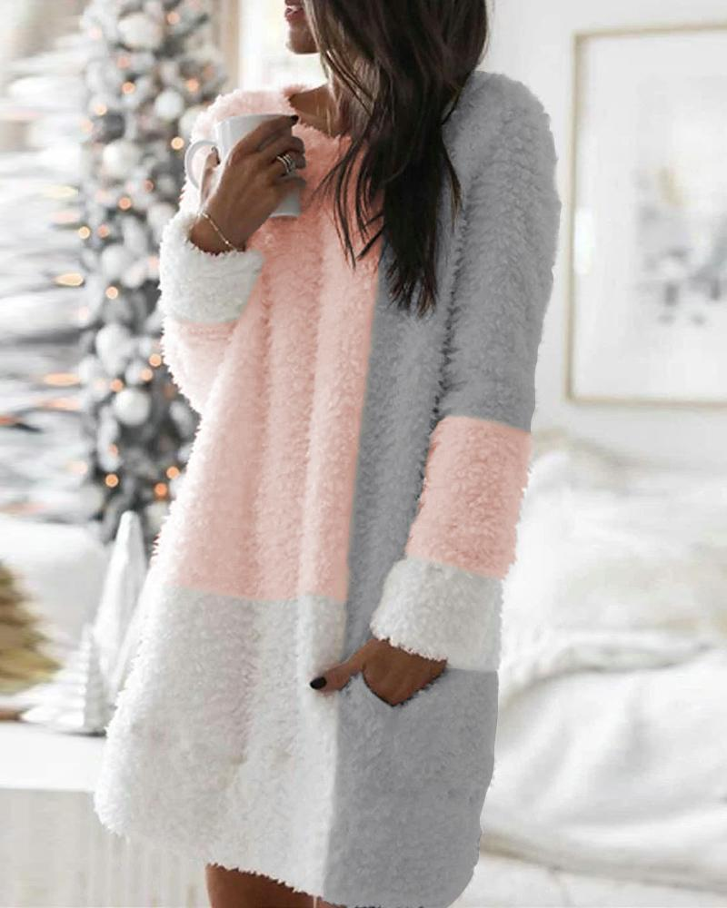 Pocket Design Colorblock Fluffy Long Sleeve Dress фото