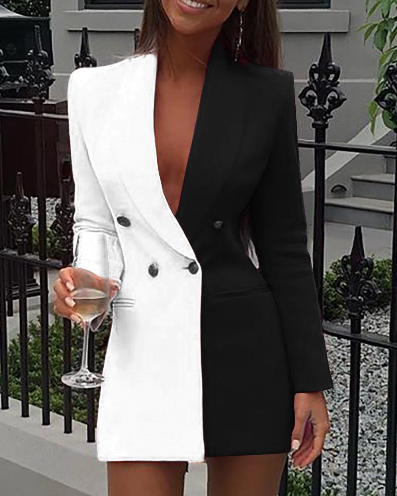 Colorblock Patchwork Long Sleeve Blazer Dress фото