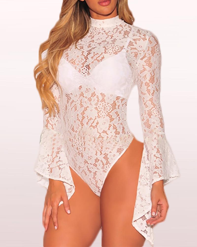 Mesh Lace Insert Bell Cuff Backless Bodysuit фото