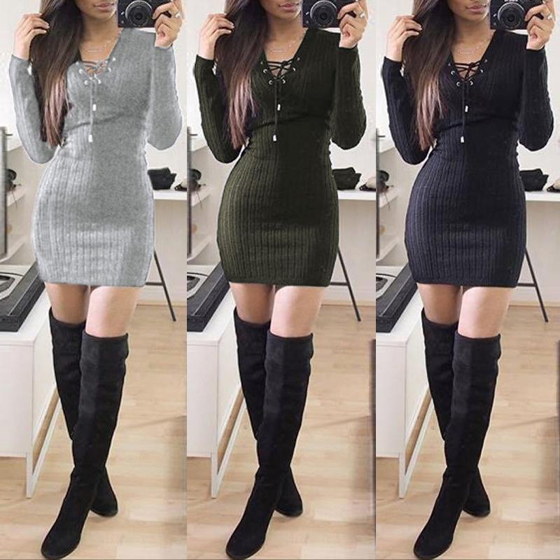 Модный сплошной цвет Bodycon мини-платье