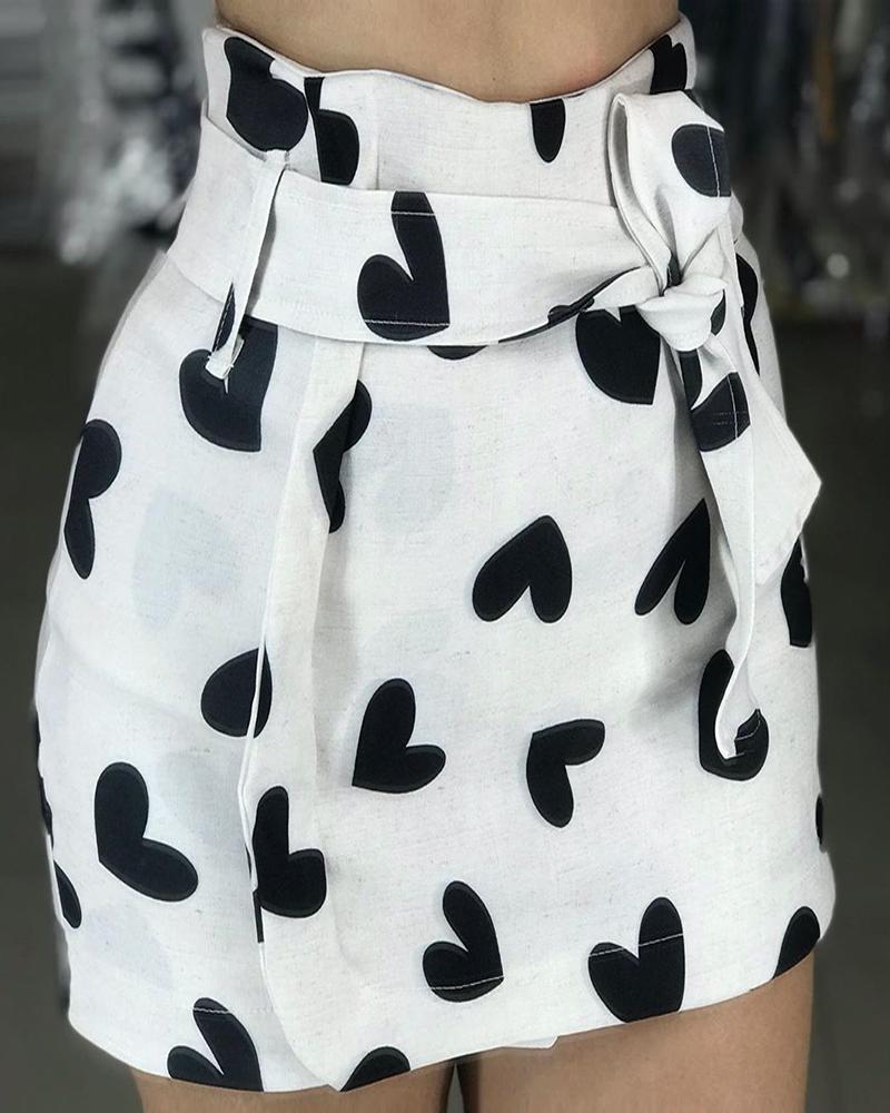 boutiquefeel / Minifalda High Wasit con estampado de corazones