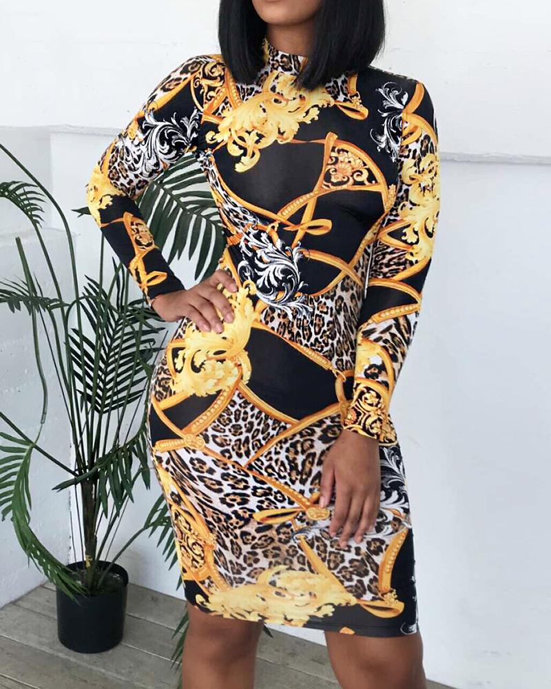 chicme / Leopard Paisley Print Long Sleeve Dress