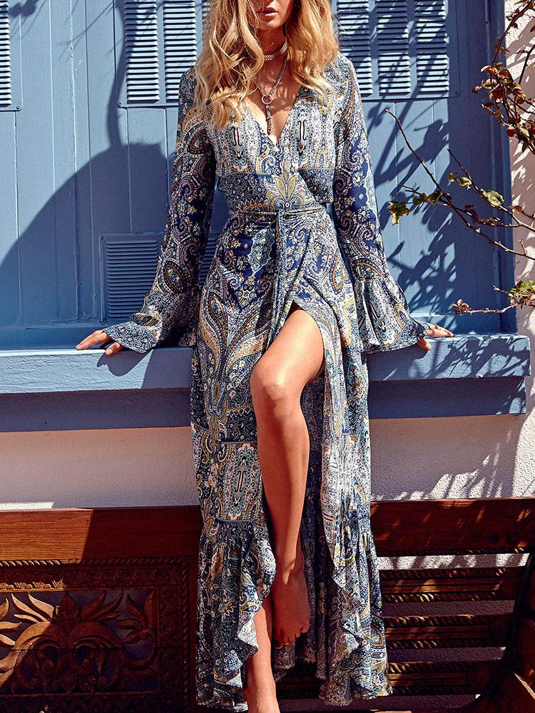 Boho Style Flare Sleeve High Slit Maxi Dress