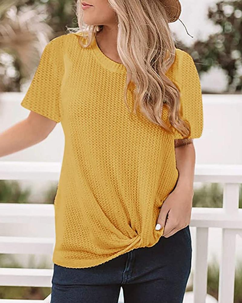 Solid Round Neck Twisted Casual T-shirt фото