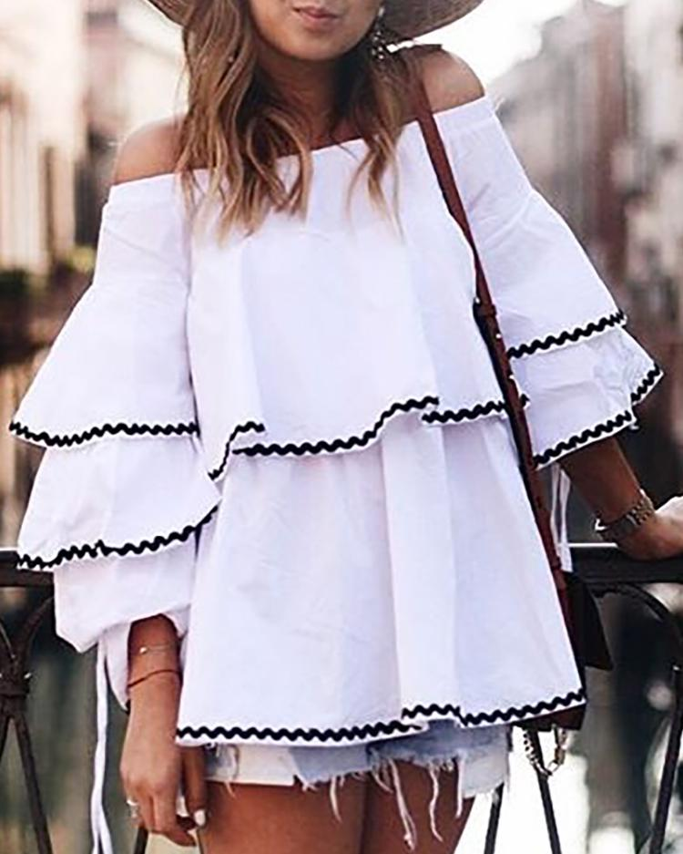 Sexy Off Shoulder Layered Flared Blouse фото