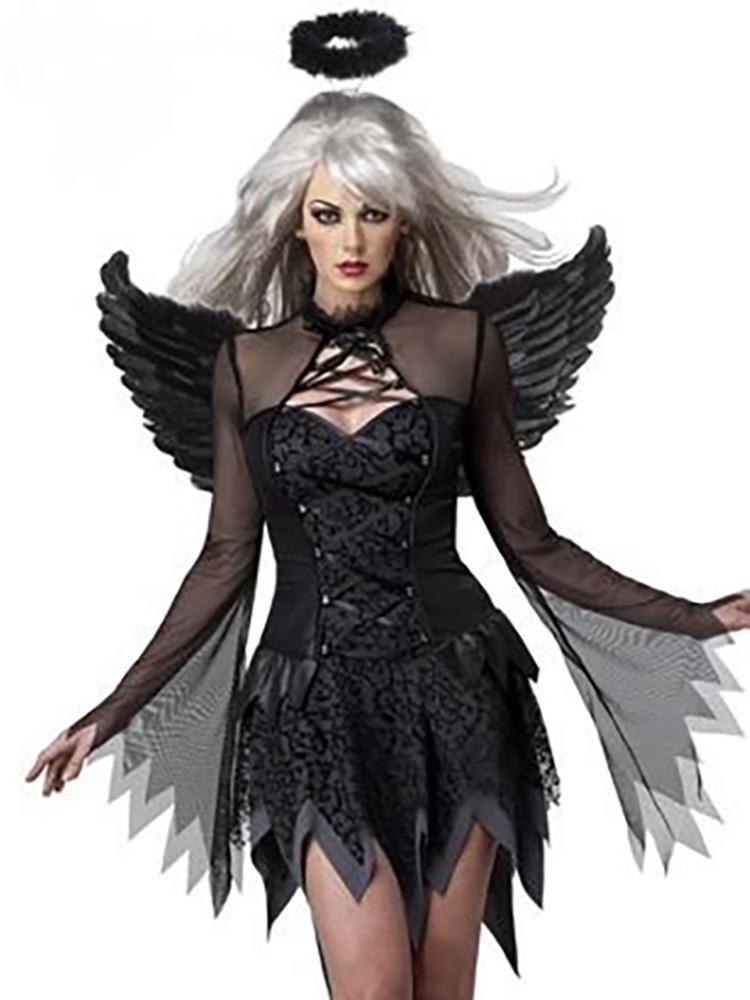 Women fashion black evil angel cosplay costume