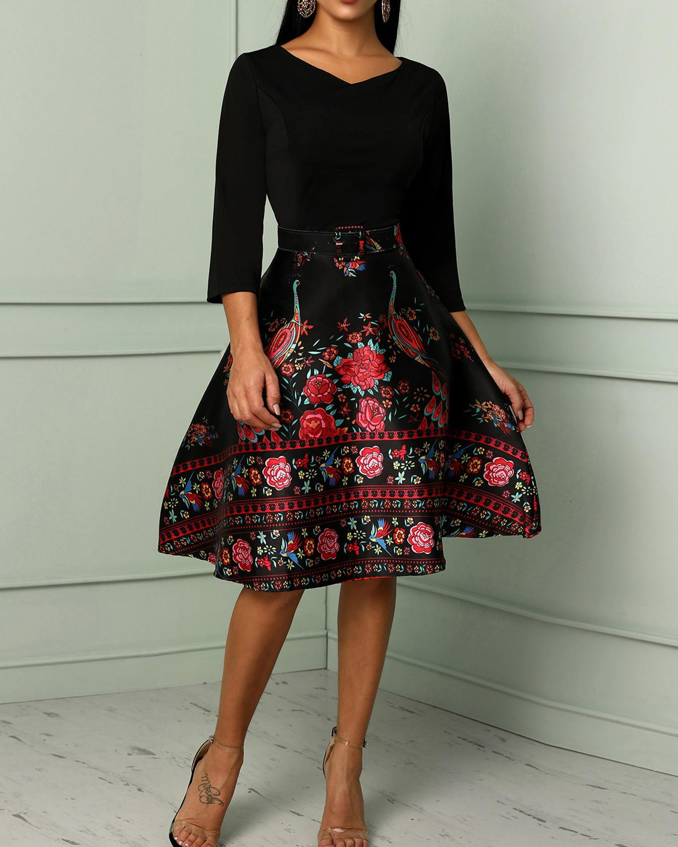 Floral Print Splicing Belted Swing Dress, Black