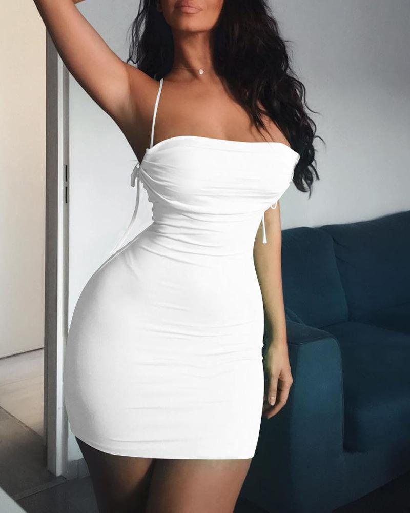 boutiquefeel / Correia de espaguete detalhe Ruched vestido sem costas Bodycon