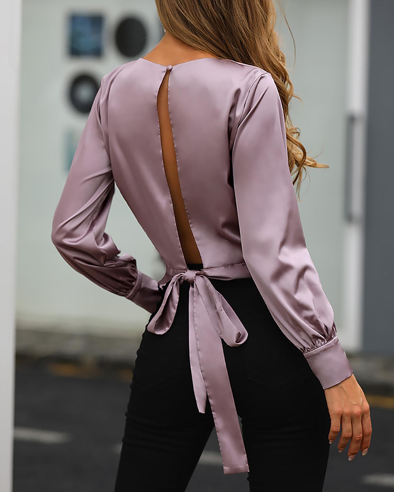 boutiquefeel / Blusa con puño abotonado y espalda anudada