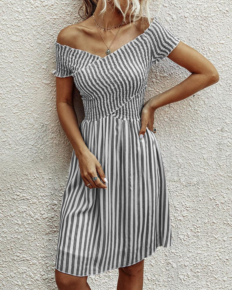 Striped Off Shoulder Casual Dress фото