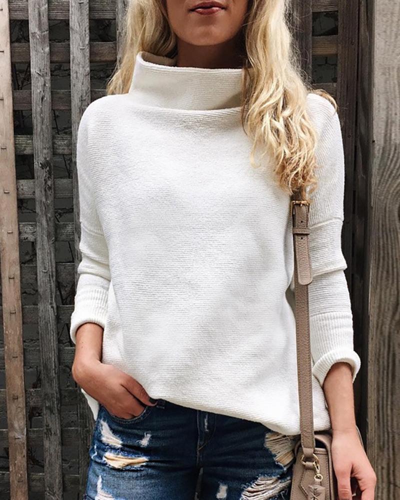 chicme / Camisola de tricô de manga comprida sólida com gola alta