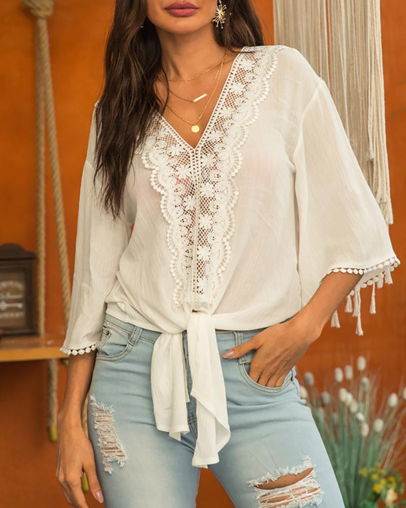 Lace Trim Knotted Design Casual Blouse