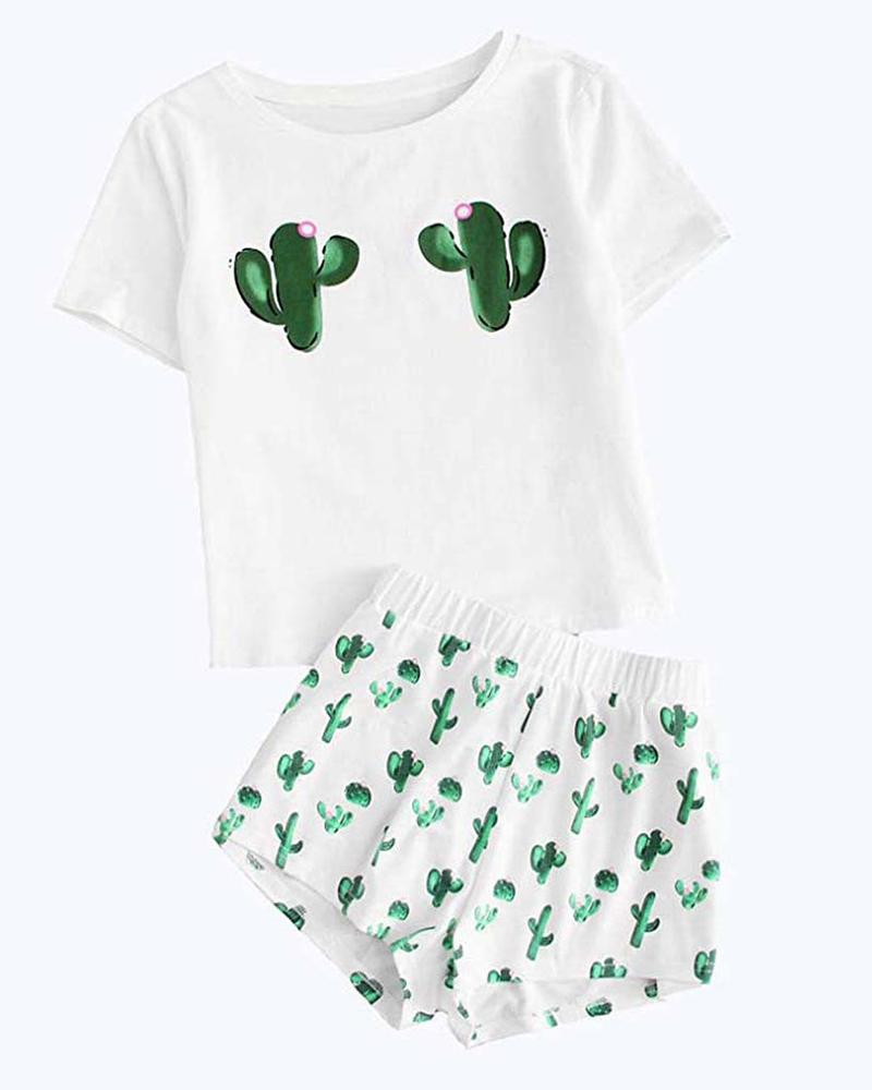 Print Short Sleeve Pajamas Set фото
