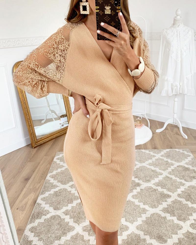 Lace Insert Batwing Sleeve Surplice Wrap Dress, Khaki