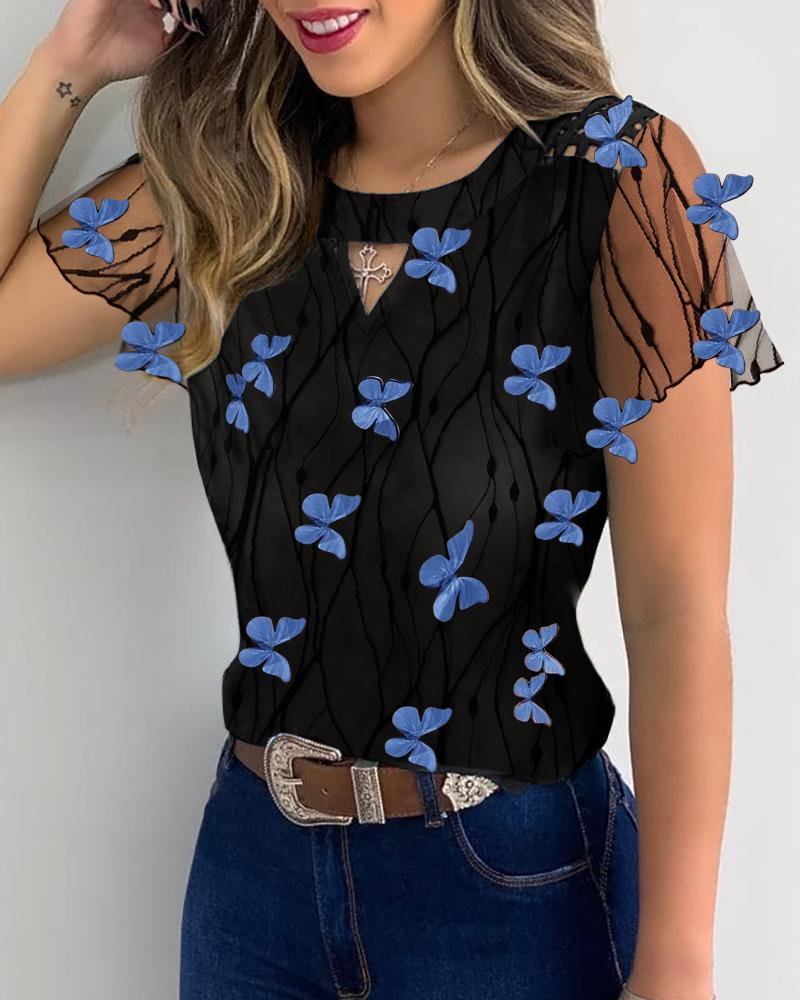 Butterfly Pattern Sheer Mesh Casual Blouse фото