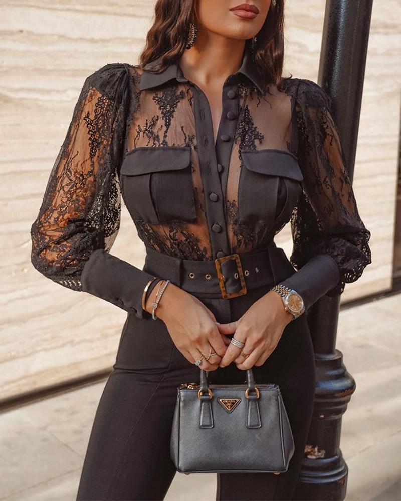 ivrose / Mesh Lace Detail Button-Up Blouse