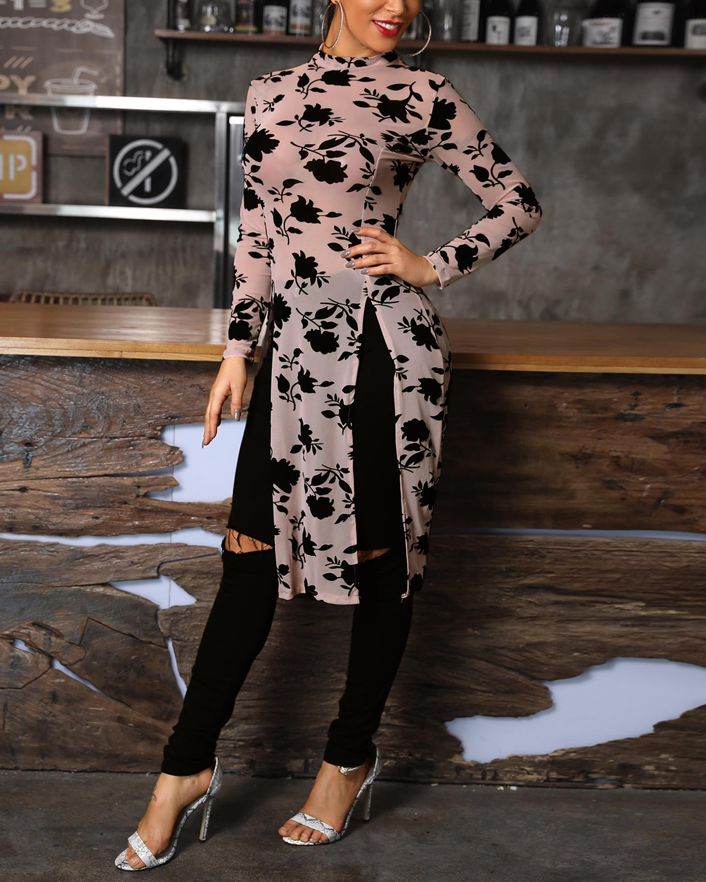 Stylish Applique Side Split Longline Long Sleeve Blouse