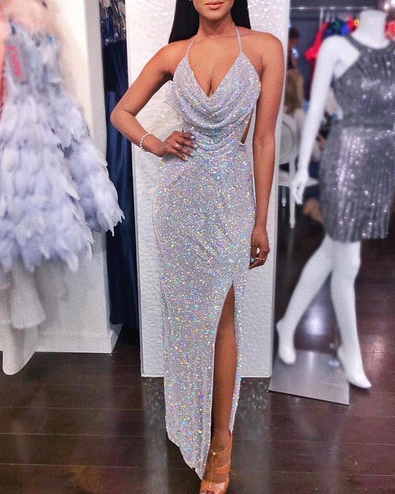 chicme / Halter Cowl Neck Backless Slit Sequins Dress