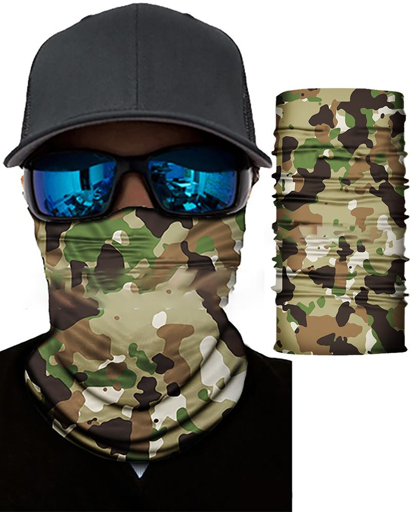 Camouflage Print Face Bandana Magic Scarf Headwrap Balaclava, Green