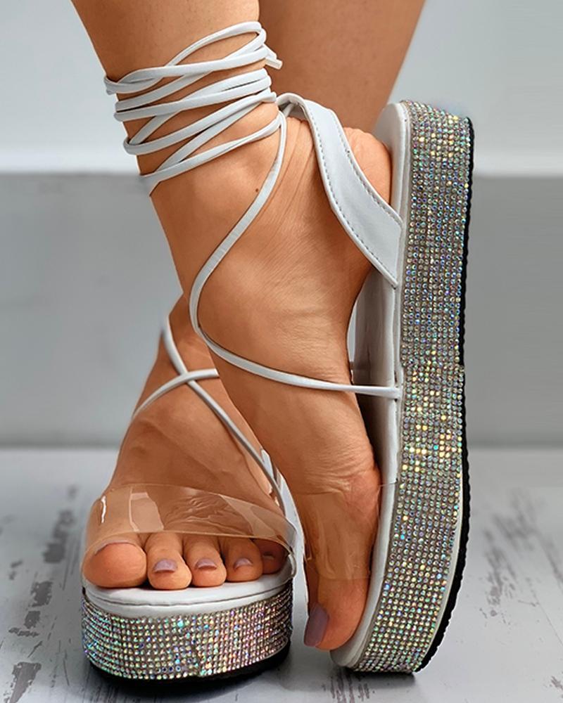 ivrose / Sandálias Gladiador com Tachas Transparentes de Perspex