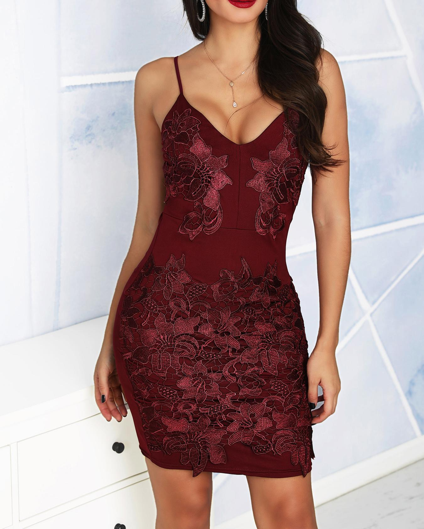 Spaghetti Strap Floral Lace Bodycon Dress