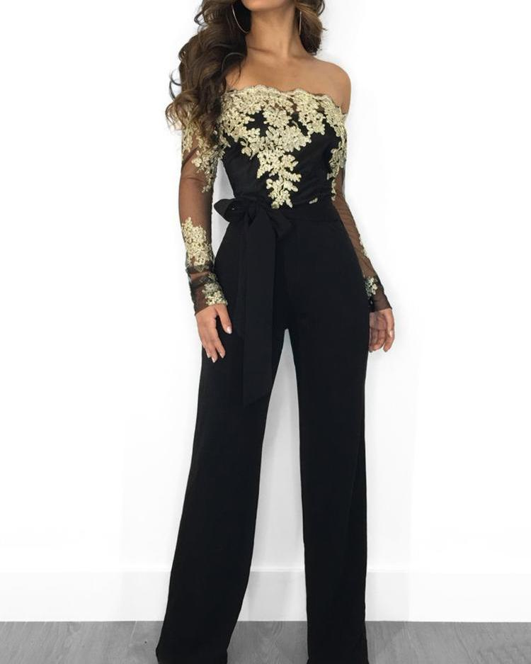 chicme / Flower Embroidery Off Shoulder Wide Leg Jumpsuit
