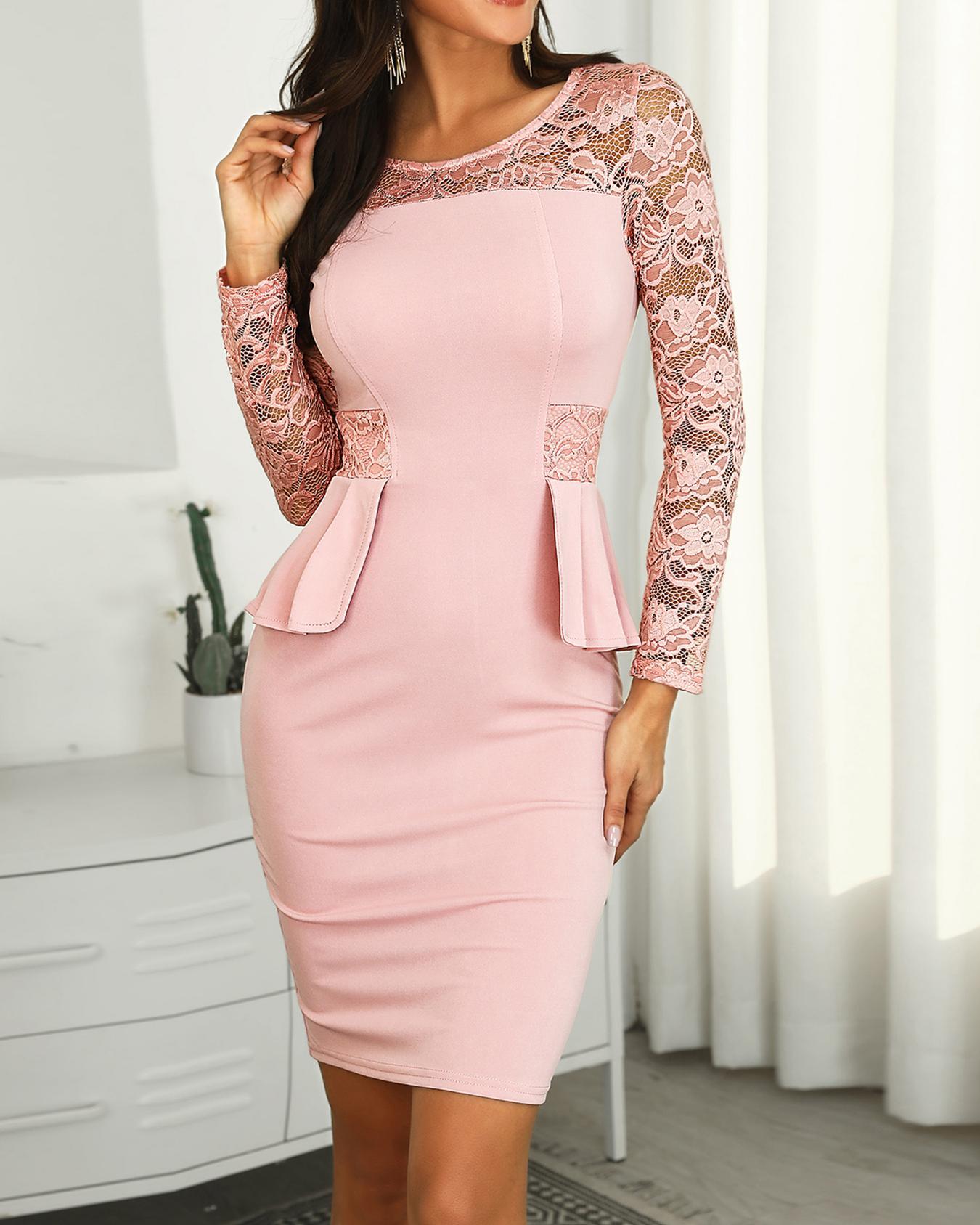 Lace Splicing Peplum Bodycon Dress, Pink
