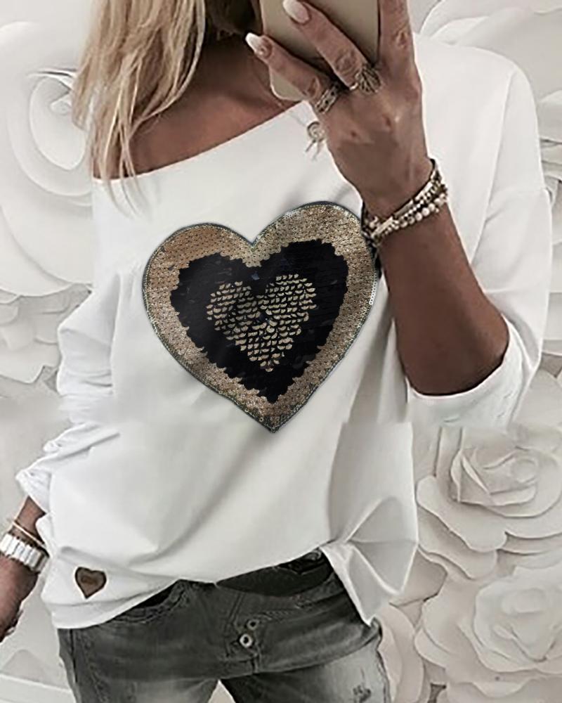 chicme / Padrão enviesado pescoço lantejoulas coração manga comprida camiseta