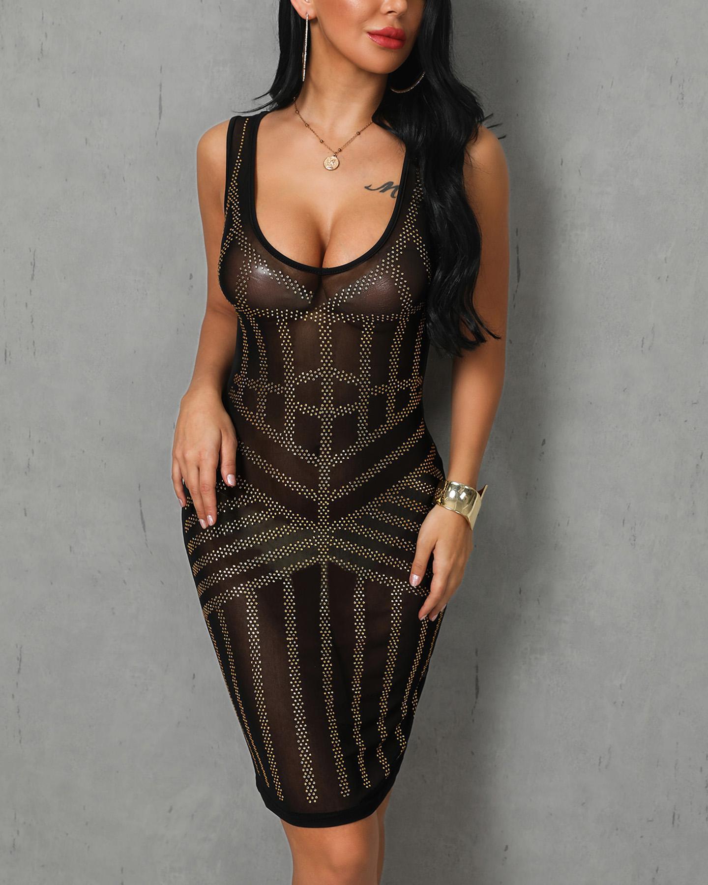 V-neck Mesh Studded Nightclub Dress фото