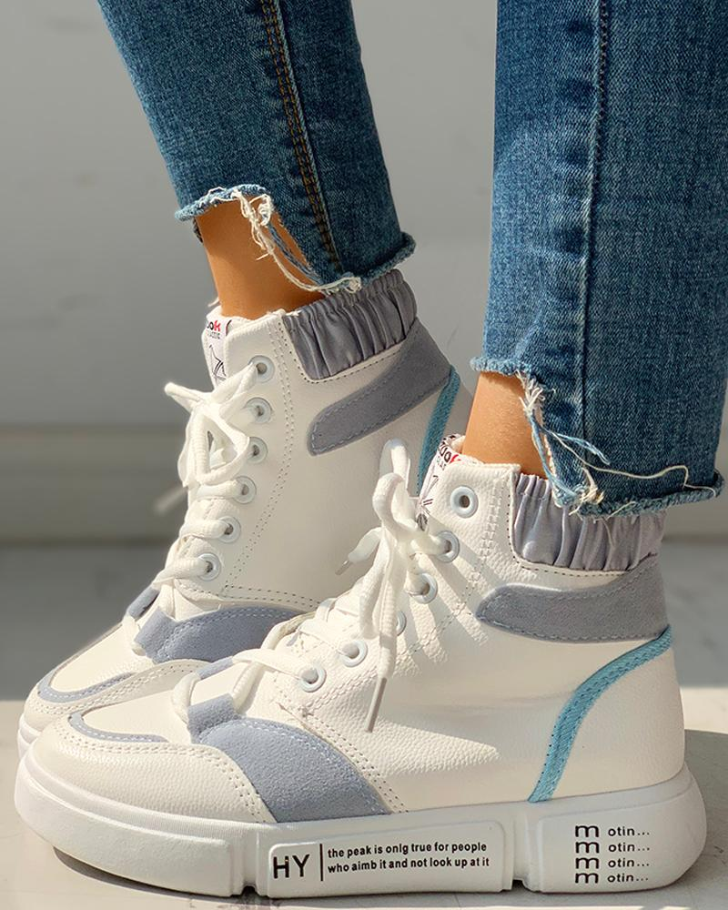 ivrose / Colorblock Lace-Up Casual Sneakers