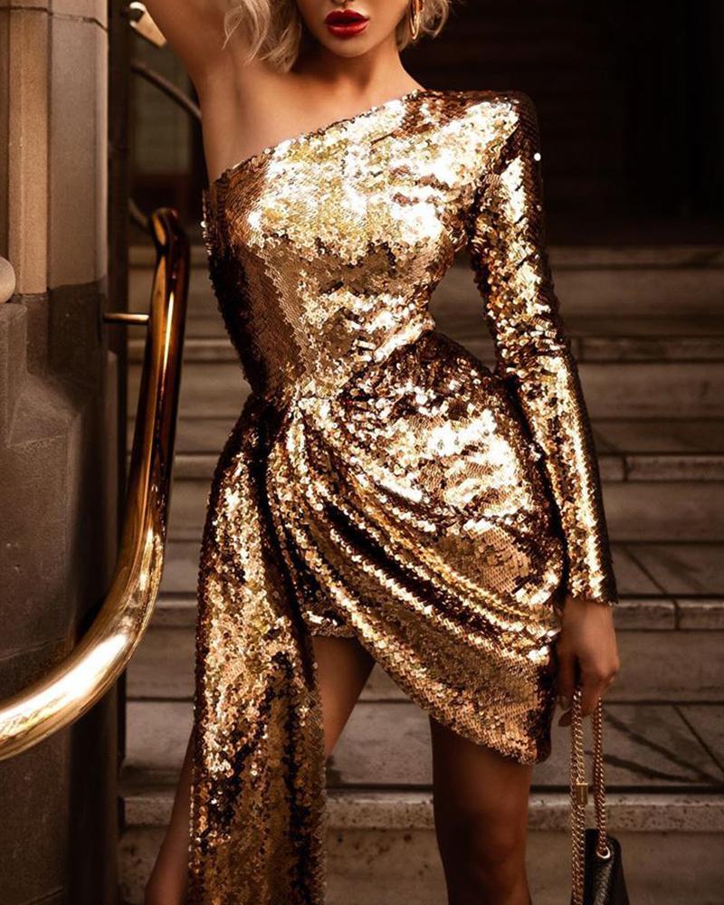 One Shoulder Sequined Mini Dress фото
