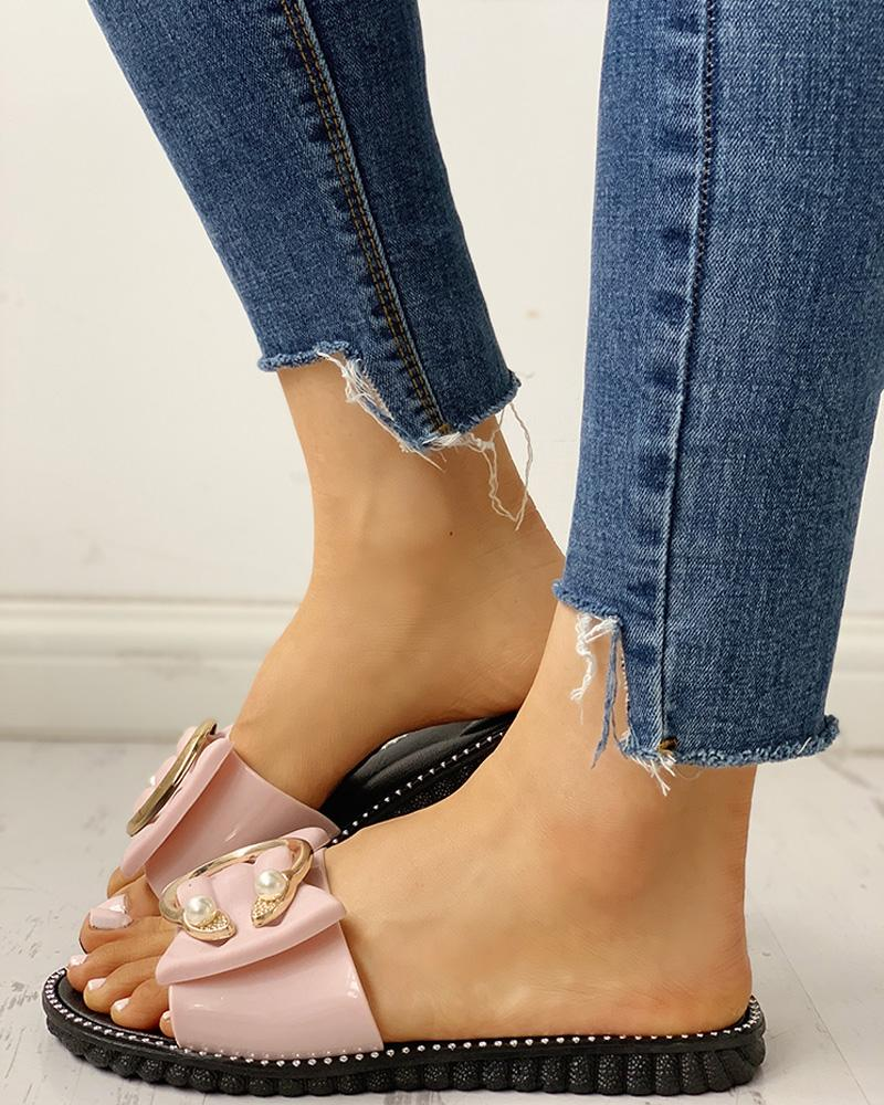 chicme / Studded Bead Ring Design Flat Sandals
