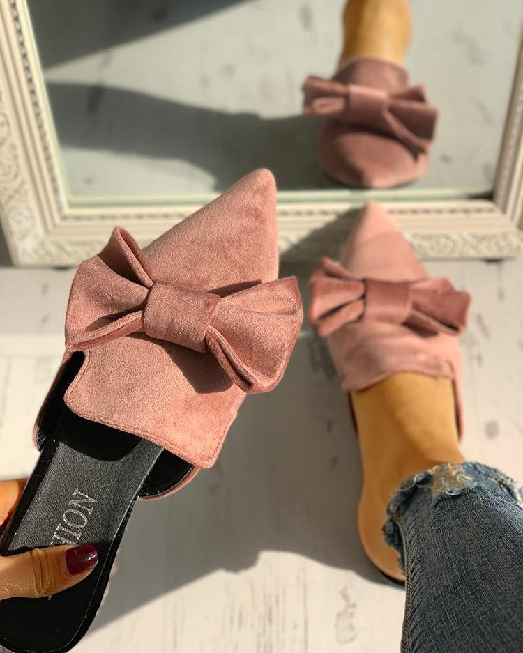 Suede Bowknot Pointed Toe Flat Shoes