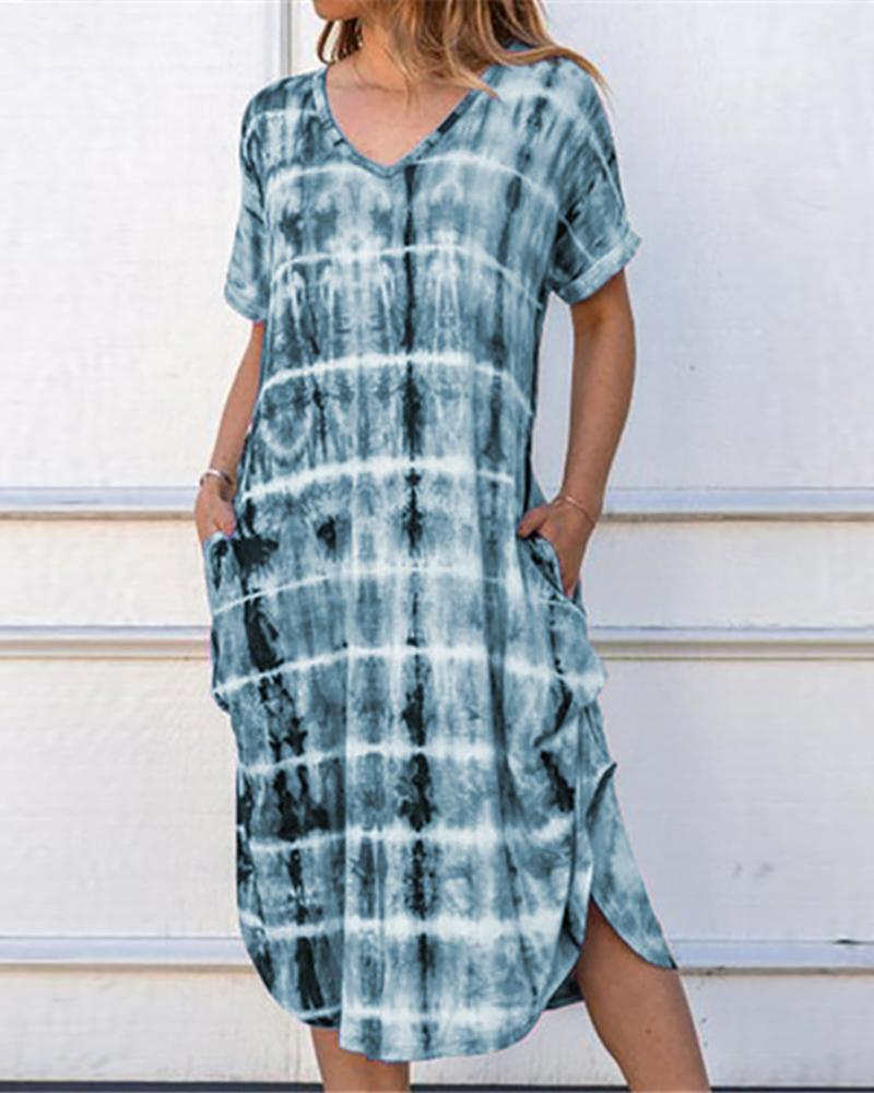 Tie Dye Print V-neck Slit Casual Dress