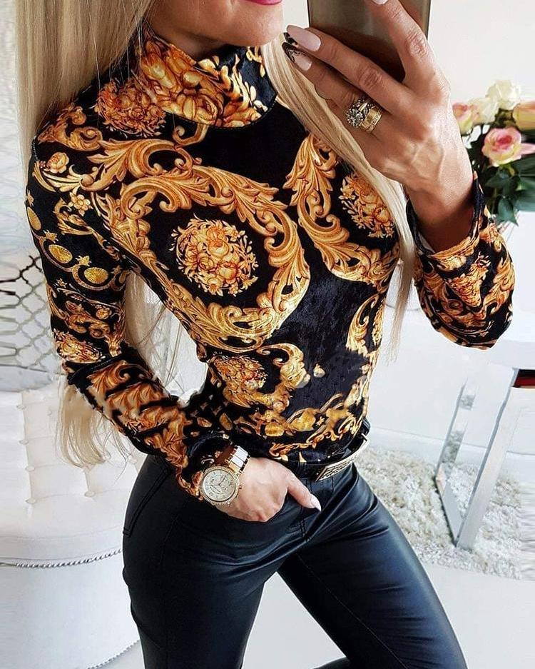 Retro Print High Neck Bodysuit