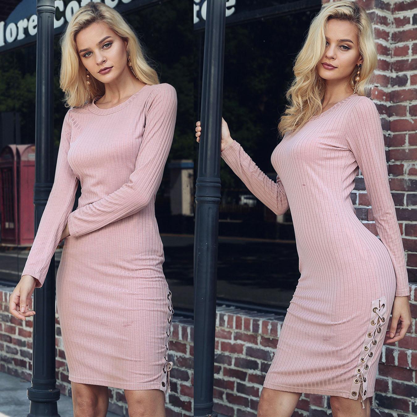 Sexy Lace-up Long Sleeve Rib Bodycon Dress