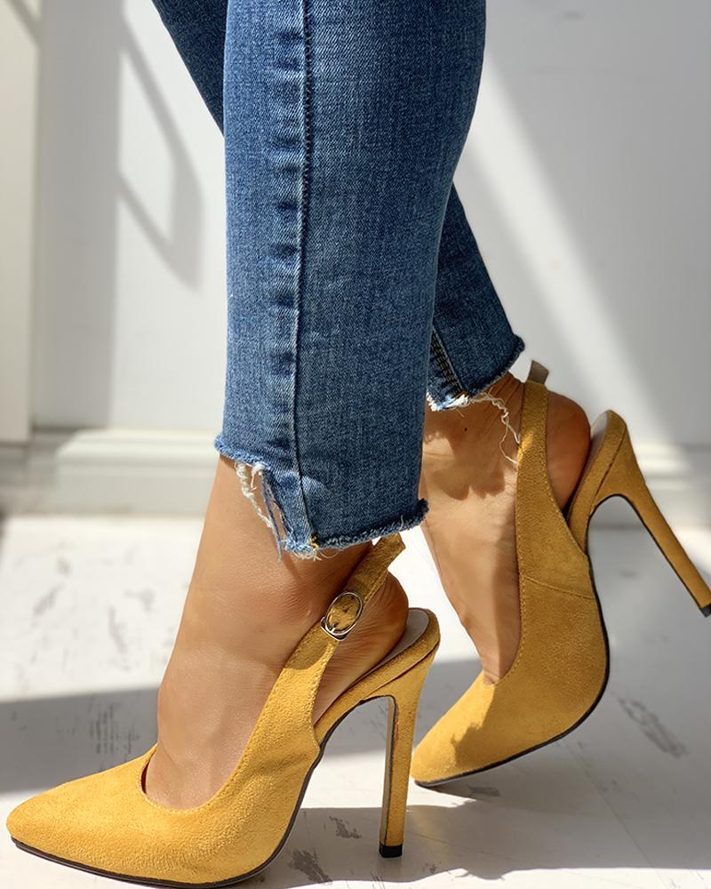 Suede Pointed Toe Slingback Thin Heels, Yellow