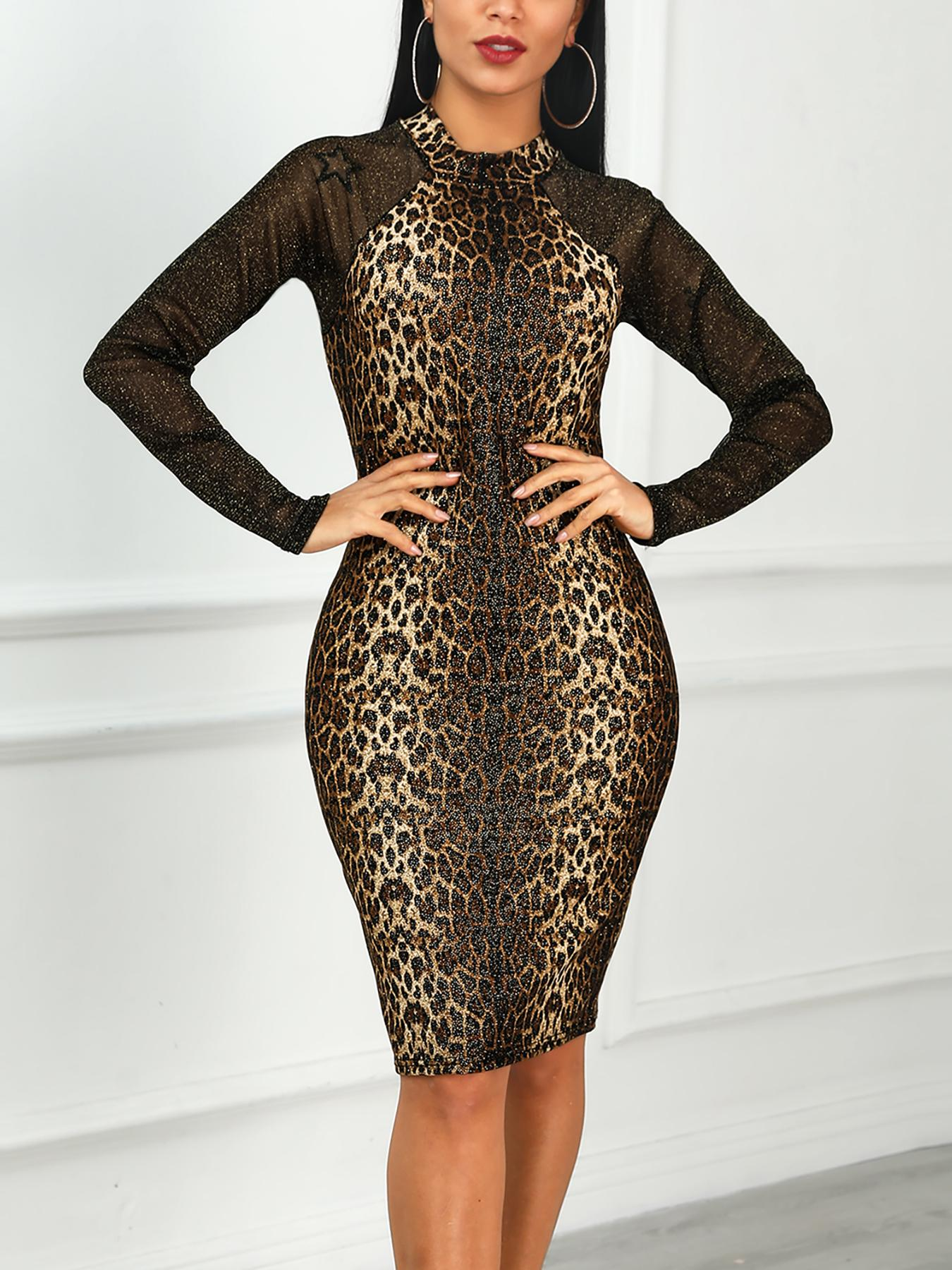 Snakeskin Print Mesh Insert Bodycon Dress