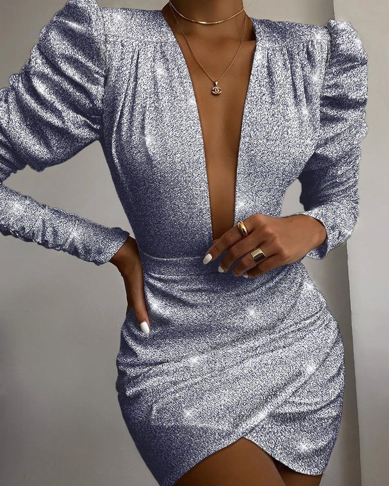boutiquefeel / Vestido con pliegues y manga fruncida con pliegues brillantes