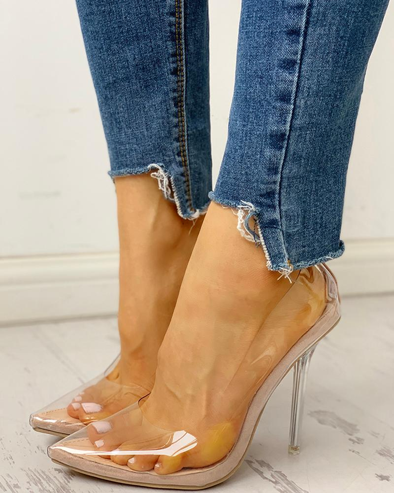 ivrose / Pointed Toe Transparent Thin Heels