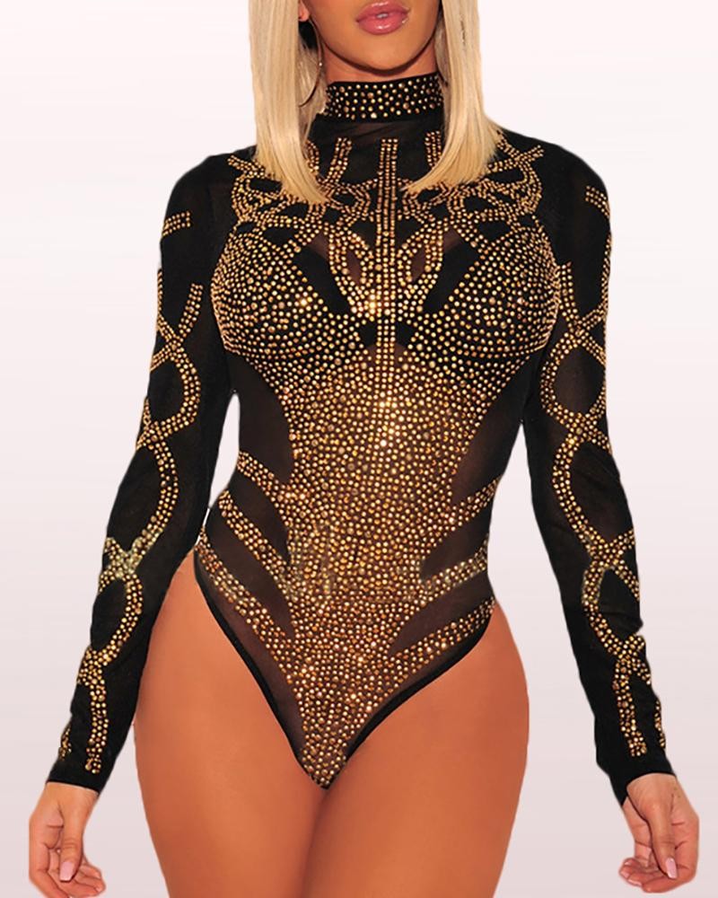 Sheer Mesh High Neck Sequins Bodysuit фото